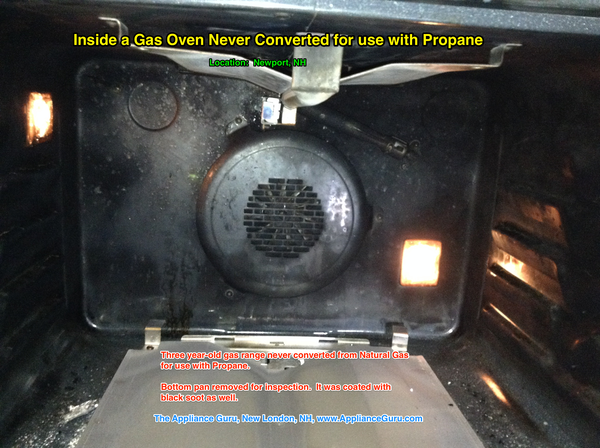 Inside a Gas Oven Never Converted for use with Propane NA